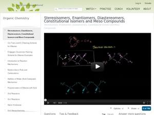 Stereoisomers, Enantiomers, Diastereomers, Constituational Isomers And meso Compounds Video