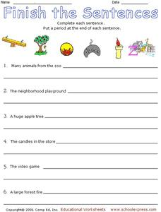 Finish the Sentence Worksheet