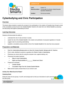 Cyberbullying and Civic Participation Lesson Plan