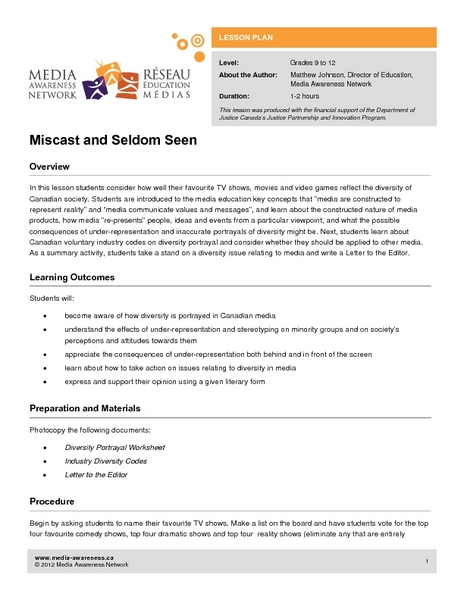Miscast and Seldom Seen Lesson Plan