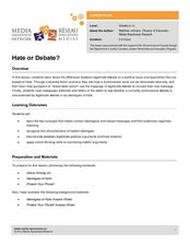 Media Awareness Network: Hate or Debate? Lesson Plan