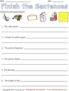 Finish the Sentences Worksheet