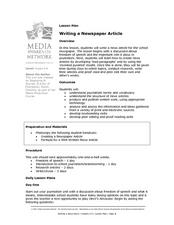 Writing a Newspaper Article Lesson Plan