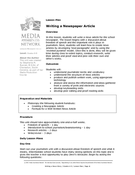 british council lesson plan template - activities to teach how to write a newspaper article