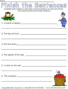 Finish the Sentences 2 Worksheet