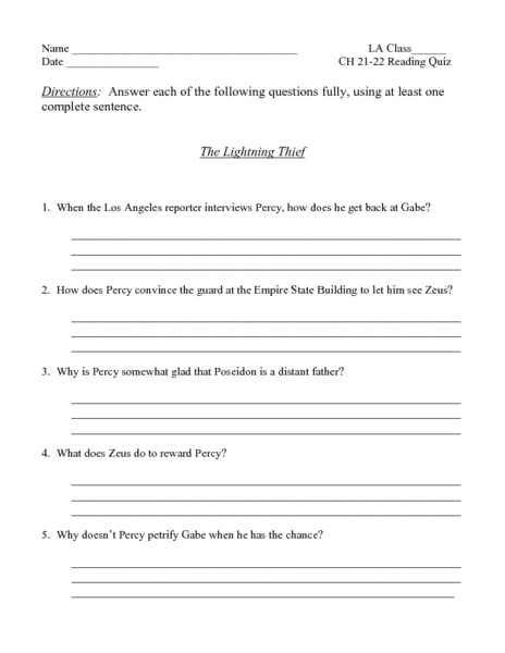 The Lightning Thief Ch. 21-22 Reading Quiz Worksheet