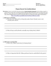 "Comprehension Questions: ""Papa's Parrot"" Worksheet"