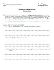 "Reading Questions: Alex Haley's ""My Furthest Back Person: The African"" Worksheet"