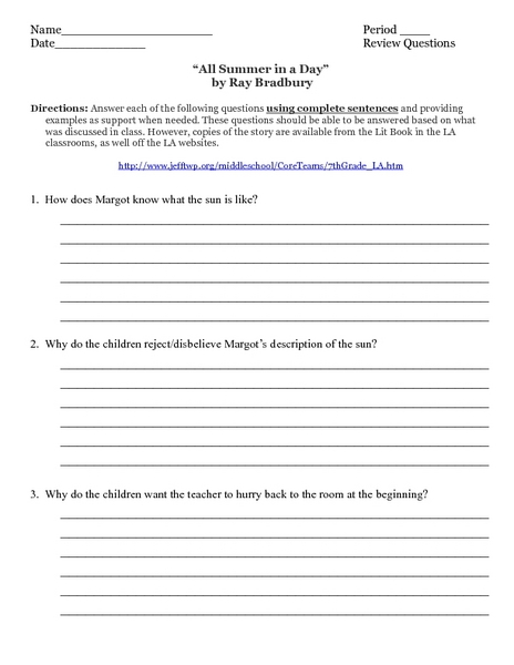 """All Summer in a Day"" by Ray Bradbury Worksheet"