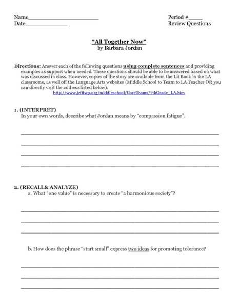 """All Together Now"" by Barbara Jordan Worksheet"