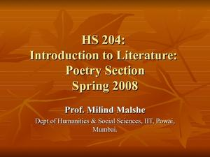 HS 204: Introduction to Literature: Poetry Section Presentation