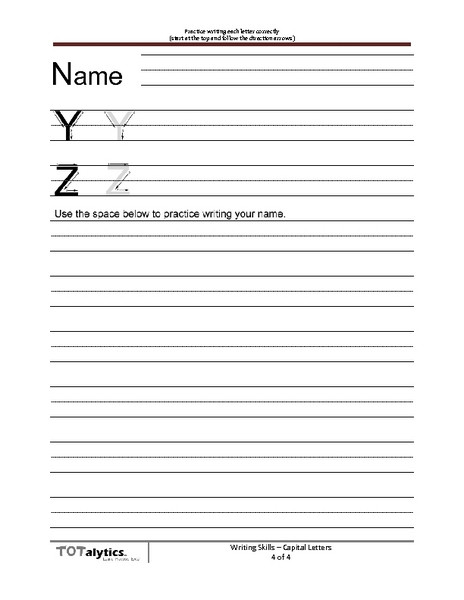 Printing Practice: Letters Y and Z Worksheet