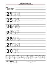 Writing Numbers 24-30 Worksheet