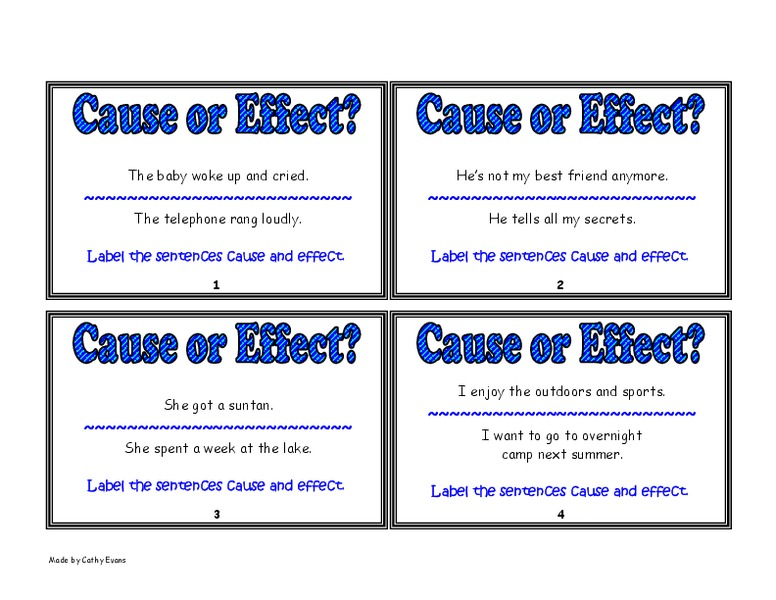 Cause or Effect? Worksheet