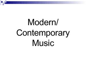 Modern/Contemporary Music Presentation