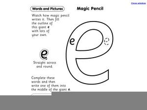 Tracing the Letter e Worksheet