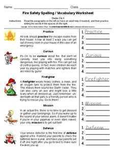 Fire Safety Spelling / Vocabulary Worksheet Worksheet