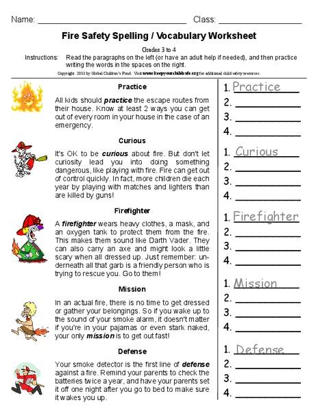 fire safety spelling vocabulary worksheet worksheet for 2nd 4th grade lesson planet. Black Bedroom Furniture Sets. Home Design Ideas