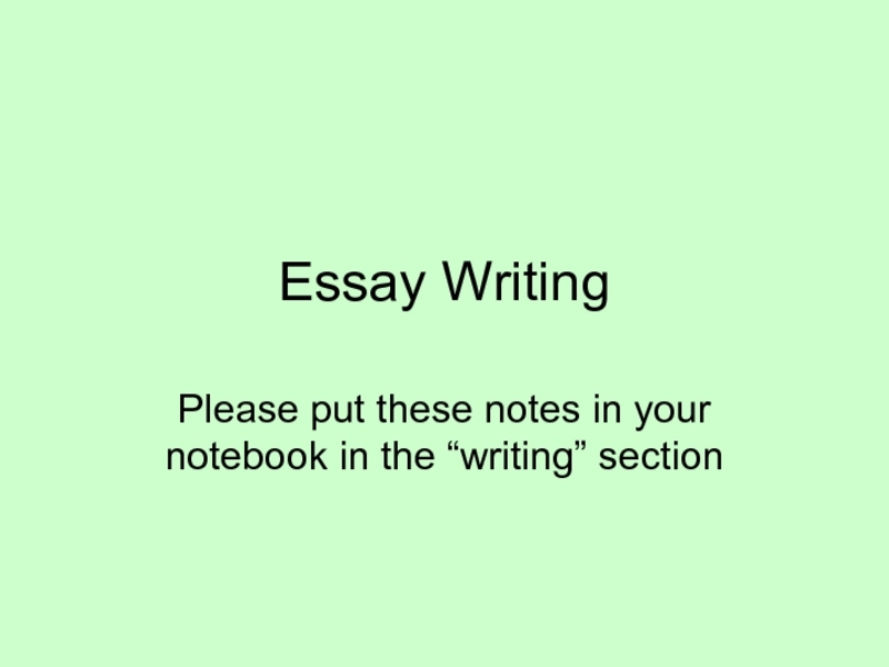 Essay Writing Presentation