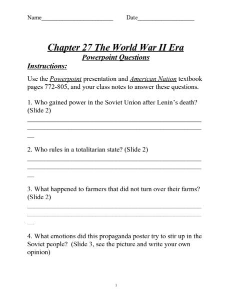 World War Ii Era Powerpoint Questions Worksheet For 7th