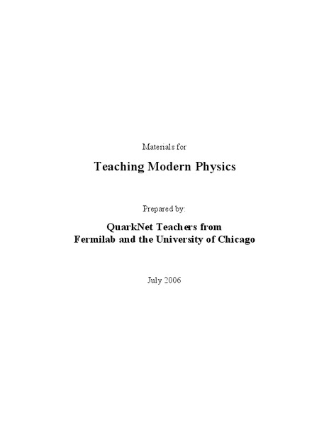 Materials for Teaching Modern Physics Unit