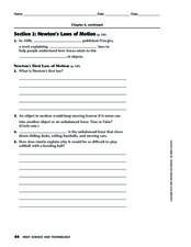 Section 2: Newton's Laws of Motion Worksheet