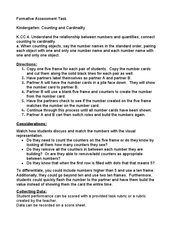 Kindergarten: Counting and Cardinality Formative Assessment Task Lesson Plan