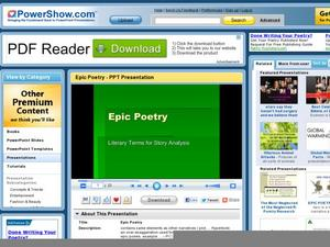 Epic Poetry: Literary Terms for Story Analysis Presentation