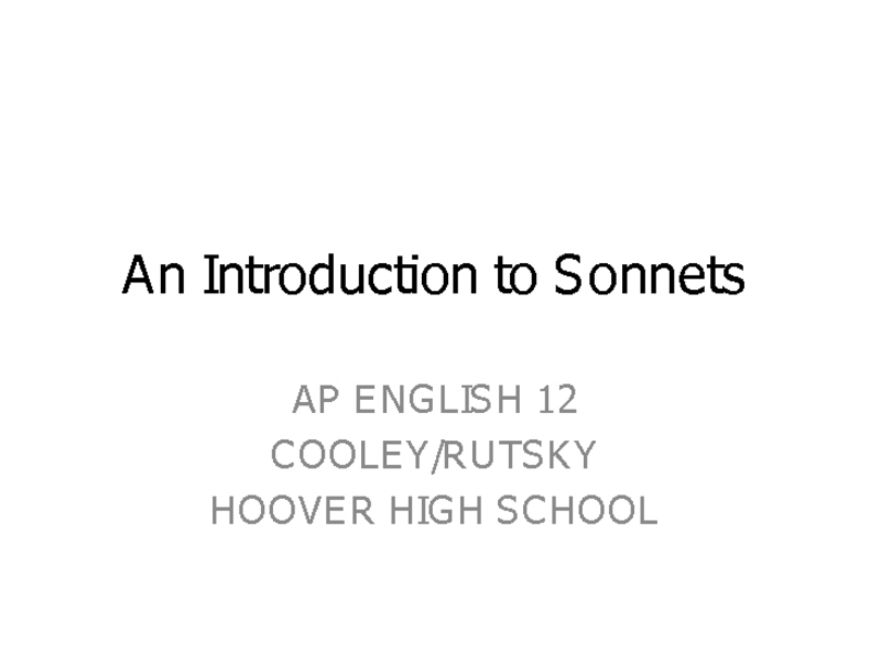 An Introduction to Sonnets Presentation