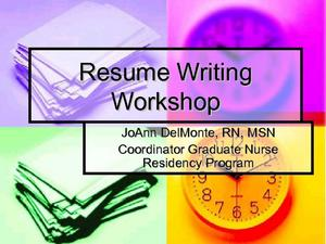 Resume Writing Workshop Presentation