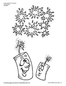 Fireworks Coloring Page Worksheet