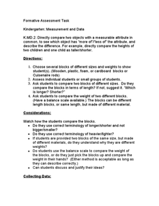 Kindergarten: Measurement and Data K.MD.2 Lesson Plan