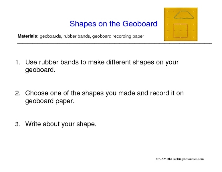 Shapes on the Geoboard Worksheet