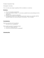 Kindergarten: Geometry (K.G.2) Formative Assessment Task Lesson Plan