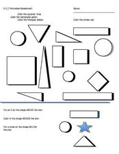 Shapes, Colors, and Prepositions Worksheet