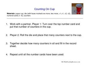 Counting on Cup Worksheet