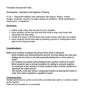 Kindergarten: Operations and Algebraic Thinking K.OA.1 Lesson Plan