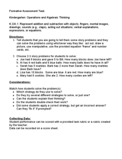 Kindergarten: Operations and Algebraic Thinking K.OA.1 Story Problems Lesson Plan