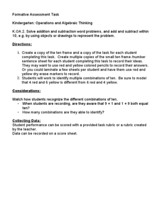 Kindergarten: Operations and Algebraic Thinking K.OA.2 Lesson Plan