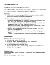 Kindergarten: Operations and Algebraic Thinking K.OA.2 Story Problems Lesson Plan