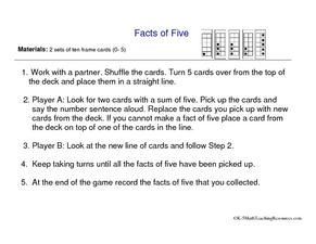 Facts of Five Worksheet