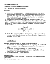 Kindergarten: Operations and Algebraic Thinking K.OA.5 Lesson Plan
