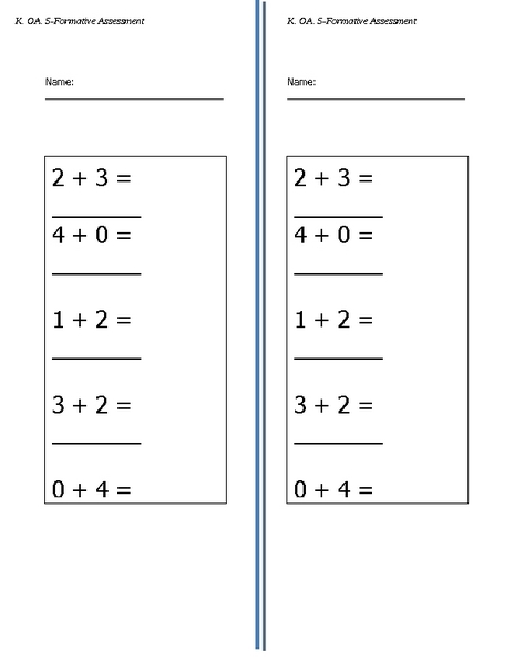 Addition Formative Assessment K.OA.5 Lesson Plan