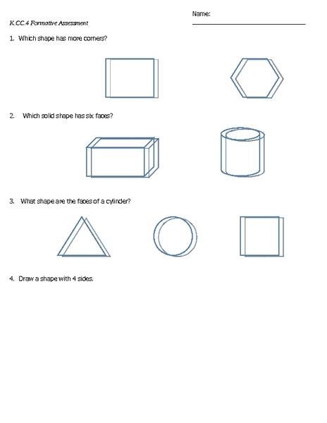 K.CC.4 Formative Assessment Lesson Plan for Kindergarten