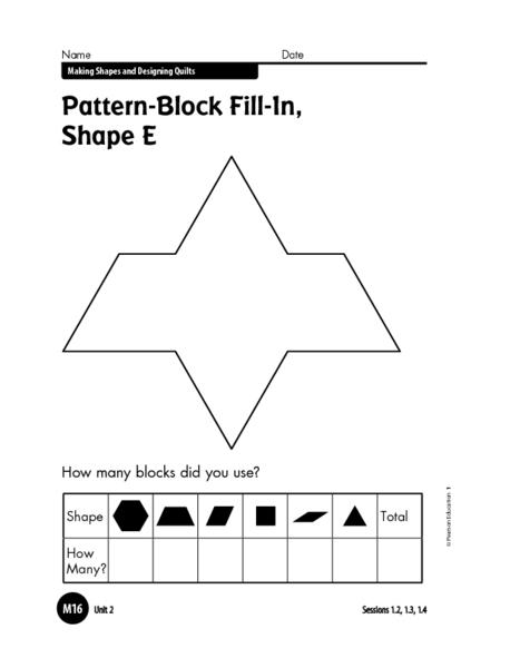 Pattern Block Fill In Shape E Worksheet For Pre K 1st