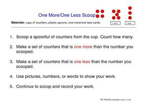 One More/One Less Scoop Worksheet