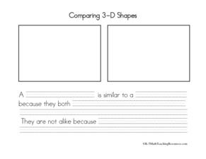 Comparing 3-D Shapes Worksheet