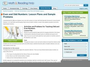 Even and Odd Numbers: Lesson Plans and Sample Problems Lesson Plan