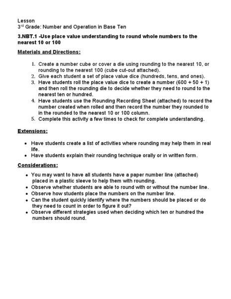 3rd Grade: Number and Operation in Base Ten Lesson Plan