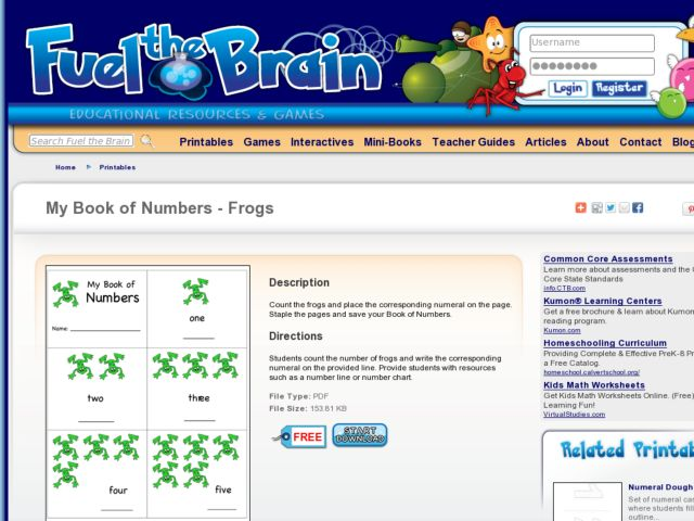 My Book of Numbers: Count the Frogs! Worksheet